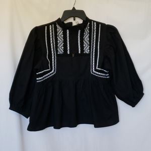 ASOS Black White Embroidered Blouse Puffy Sleeves